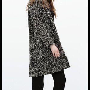 Zara black/white tweed sweater with frayed edges